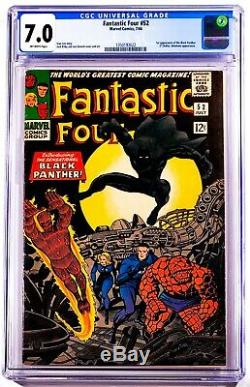 1966 Marvel Comics Fantastic Four #52 Cgc 7.0 Off-white Pages Black Panther Nice