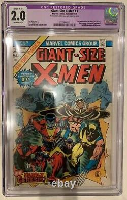 (1975) GIANT SIZE X-MEN #1 CGC 2.0 Restored OFF WHITE PAGES! 1st Colossus! Storm