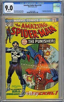 Amazing Spider-Man #129 CGC 9.0 VF/NM Wp 1st Punisher Marvel 1974 RARE WHITE PGS