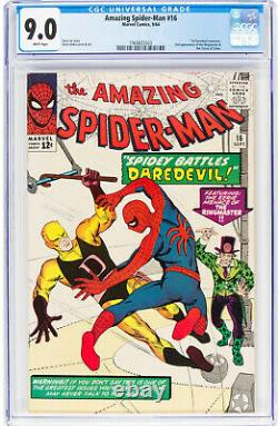 Amazing Spider-Man #16 (9/64), CGC 9.0 WHITE PAGES. 1st Daredevil X-over. Nice