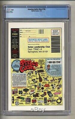 Amazing Spider-Man 194 (CGC 9.4) White pages 1st app. Black Cat 1979 (c#26638)