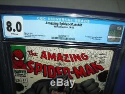 Amazing Spider-Man #41 CGC 8.0 with WHITE PAGES from 1966! 1st app Rhino not CBCS