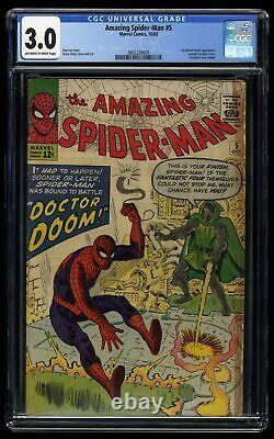 Amazing Spider-Man #5 CGC GD/VG 3.0 Off White to White 1st Print Doctor Doom