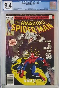 Amazing Spider-man #194 Cgc 9.4 1st Black Cat White Pages