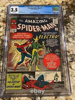 Amazing Spider-man #9 Cgc 3.5 Rare White Pages 1st Electro New Mcu Movie Invest