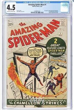 Amazing Spiderman 1 CGC 4.5 Marvel 1963 OW-White Pgs 2048951002