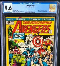 Avengers #100 CGC 9.6 White Pgs Enchantress & Ares Appearance! Marvel 1972