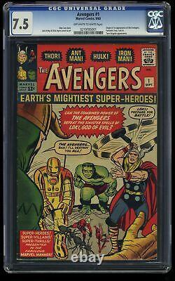 Avengers #1 CGC VF- 7.5 Off White to White Thor Captain America Iron Man Hulk