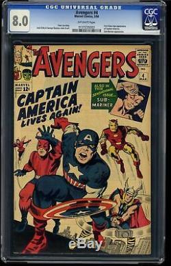 Avengers #4 CGC VF 8.0 Off White 1st Silver Age Captain America