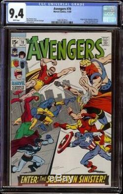 Avengers # 70 CGC 9.4 White (Marvel 1969) John Buscema cvr 1st Squadron Sinister