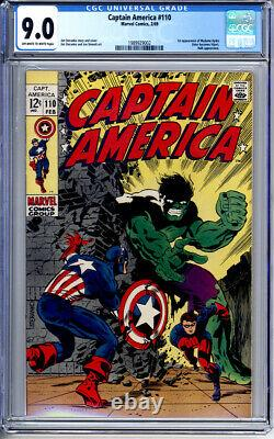 CAPTAIN AMERICA #110 CGC 9.0 OWithWHITE PAGES STERANKO 1st MADAME HYDRA HULK 1969