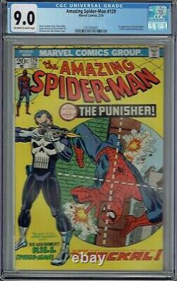 CGC 9.0 AMAZING SPIDER-MAN #129 1ST APPEARANCE THE PUNISHER 1974 OWithWHITE PAGES