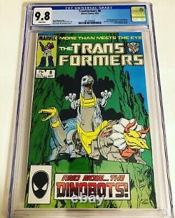 CGC 9.8 Transformers #8 1st appearance of the Dinobots White Pages Marvel 1985