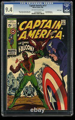 Captain America #117 CGC NM 9.4 Off White to White Pacific Coast 1st Falcon