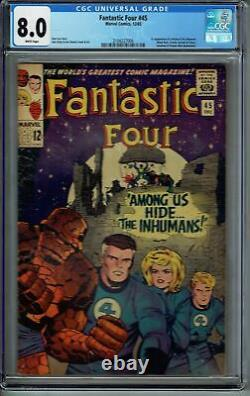 Cgc 8.0 Fantastic Four #45 White Pages 1st Appearance Of The Inhumans