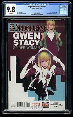 Edge of spider-verse #2 CGC NM/M 9.8 White Pages 1st Spider-Gwen