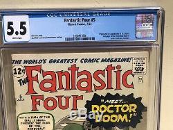 FANTASTIC FOUR 5 CGC 5.5 (1st DOCTOR DOOM) 2090910001 WHITE pgs L@@K