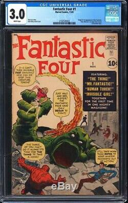 Fantastic Four 1 CGC 3.0 1st app of Fantastic Four! WORLDWIDE SHIPPING WHITE PAG