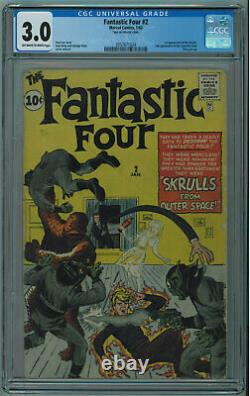 Fantastic Four #2 Cgc 3.0 1st Skrulls Off-white To White Pages 1962