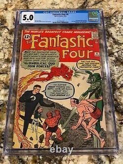 Fantastic Four #6 Cgc 5.0 Rare White Pg 2nd Dr Doom Sub-mariner 1st Villain Team
