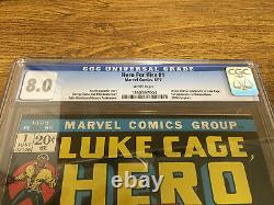Hero For Hire #1 1st App Luke Cage & Diamondback Cgc 8.0 White Pages