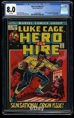 Hero For Hire #1 CGC VF 8.0 White Pages 1st Luke Cage! Marvel Comics Luke Cage