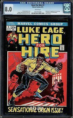 Hero For Hire #1 Cgc 8.0 White Origin And 1st App Of Luke Cage Cgc #1221161002