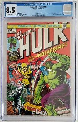 INCREDIBLE HULK 181 CGC 8.5 3831354001 White Page 1st full Wolverine
