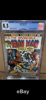 IRON MAN #55 CGC 8.5 1ST THANOS & DRAX THE DESTROYER White Pages! Hot Key Book