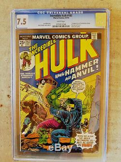 Incredible Hulk # 180 CGC 5.5 WithOW pages 181 7.0 White pages, 182 7.5 White pages
