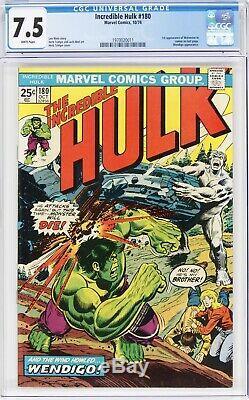 Incredible Hulk 180 CGC 7.5 (1st App Wolverine) 1974 WHITE pgs 1970020011