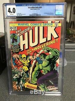 Incredible Hulk 181, CGC 4.0 White Pages First Full Appearance WOLVERINE