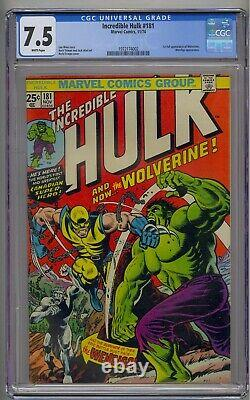 Incredible Hulk #181 Cgc 7.5 1st Full Wolverine Wendingo App White Pages