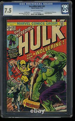 Incredible Hulk (1968) #181 CGC VF- 7.5 Off White to White 1st Wolverine