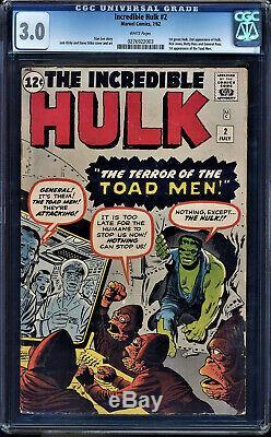 Incredible Hulk #2 Cgc 3.0 White 1st App Of The Green Skin Hulk! #0276922003