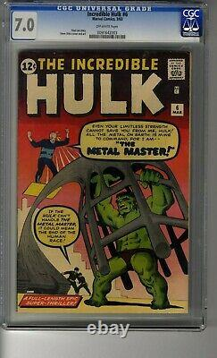 Incredible Hulk # 6 CGC 7.0 Off-White Pg Cover by Steve Ditko Metal Master