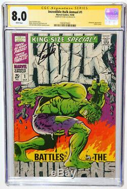 Incredible Hulk Annual #1 King Size Special Cgc 8.0 Ss Signed Stan Lee White Pgs