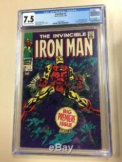 Iron Man #1 1968 CGC 7.5 Off-White to White Pages Key Comic