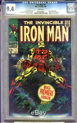 Iron Man #1 CGC 9.4 NM WHITE Pages Universal CGC #0161524001