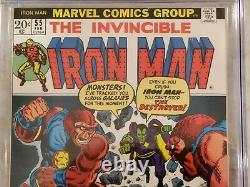 Iron Man 55 cgc 7.5 White Pages! 1st Appearance Thanos, Drax et al 2055773004