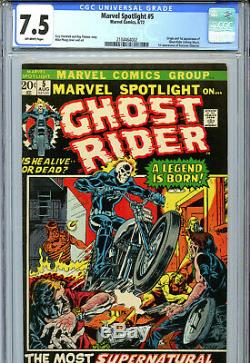 Marvel Spotlight #5 (1972) Marvel CGC 7.5 Off-White Origin & 1st App Ghost Rider
