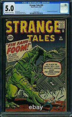 STRANGE TALES #89 CGC 5.0 1st Appearance FIN FANG FOOM Off-White to White Pages