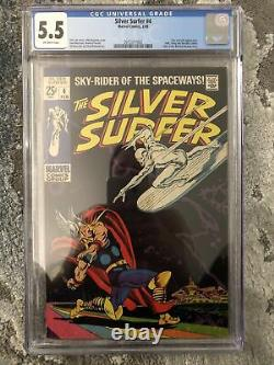 Silver Surfer #4 CGC 5.5 Off White Pages (Feb 1969) Thor Cover Key Marvel Comic