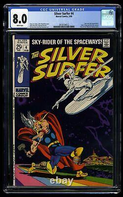 Silver Surfer #4 CGC VF 8.0 White Pages vs Thor