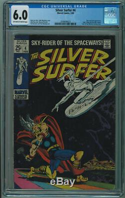 Silver Surfer #4 Cgc 6.0 Surfer Vs Thor Iconic Cover Off-white To White Pgs 1968
