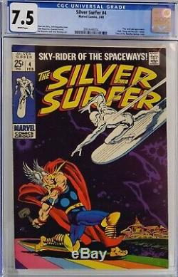 Silver Surfer #4 Cgc 7.5 Thor Vs Silver Surfer White Pages