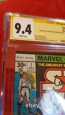Star Wars #1 CGC 9.4 SS Harrison Ford C. Fisher Hamill McDiarmid 1977 white pgs