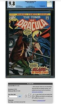 TOMB OF DRACULA 10 CGC 9.8 (1ST APPEARANCE BLADE) 1973 WHITE pgs 0962782012