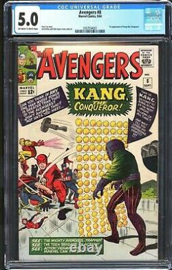 The Avengers # 8 CGC 5.0 OWithWhite Pages 1st APP Kang the Conqueror Marvel 1964