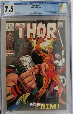 Thor 165 Marvel 1969 CGC 7.5 1st App of Him (Adam Warlock) HTF WHITE PAGES